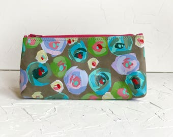 OOAK Hand painted leather pencil pouch - #4