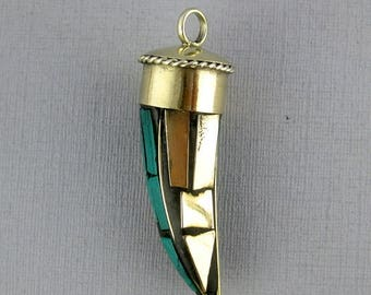 45% off Liquidation SALE Tibetan Horn Pendant- Tibetan Brass and Turquoise Mosaic Horn Pendant (S54-B8a)