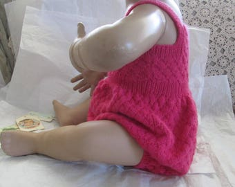 Hand Knit Baby Romper Girl Ready to Ship Size 12M to 18M Vintage Playsuit