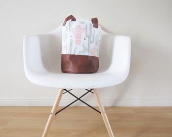 Cactus Round Basket,Hamper bag, Cactus Basket, Fabric Basket, Storage Bin, Toy Basket, Nursery Storage, Coral  and Mint cacti bag