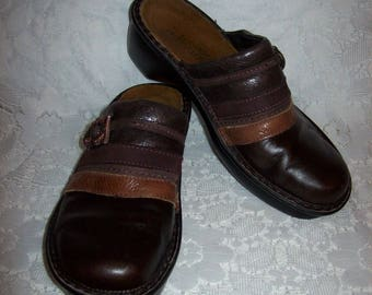 Vintage Ladies Two Tone Brown Leather Slip Ons Clogs by Naot Size 37 Only 10 USD