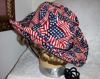 Vintage Red, White & Blue Patriotic Flag Cowboy Hat w/ Adjustable Brim by Something Special LA Only 12 USD