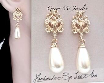 Gold pearl drop earrings, Gold pearl earrings, Filigree posts, Swarovski pearl earrings, Brides pearl earrings, Gold wedding jewelry, VICKI