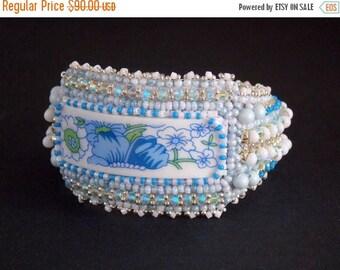 Sale-15% Free Shipping, Bead Embroidery, Bracelet, Statement cuff, Seed bead bracelet, Blue, white, Swarovski, porcelain