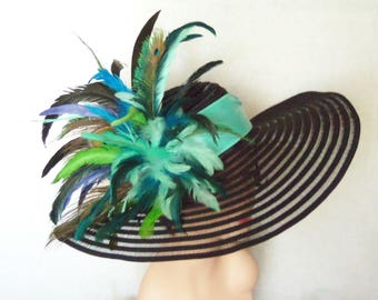 Ladies Black Hat - Peacock Feathers - Kentucky Derby Hat, Garden Party Hat or Victorian Tea Party