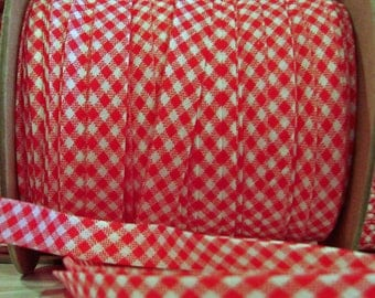 "10 yds RED Gingham 1/2"" EXTRA Wide Double Fold Bias Tape 100% American Made"