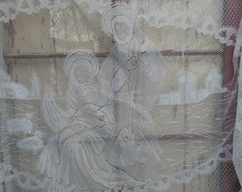 Vintage Religious White Lace Tablecloth of Jesus Birth - Wise Men, Angels From Heaven, The Last Supper, Jesus, Mary + Joseph, Jesus' Cross
