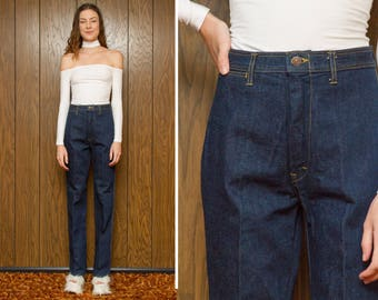 Vintage 70s 80s NEW Deadstock Dark Navy Blue Southwestern High Waist Country Bootcut Denim Wave Embroidered Extra X Long Jeans 26 27 34 35