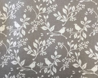 Fabric freedom white birds on grey cotton fabric by the half metre