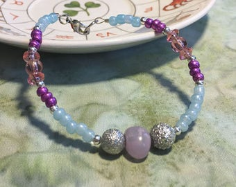 Tiny Blue and Purple Glass Bead Necklace