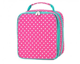 Pink Dottie Insulated Lunch Box * Monogrammed FREE * / Girls Lunch Box / Personalized Lunch Box / Back to School Gear / FREE Personalization