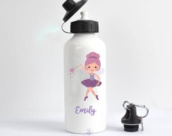 Custom Water Bottles - Back to School, personalised water bottle, fairy, ballet, Child's water bottle, personalized school, girls bottle