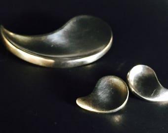 Modernist Sterling Denmark Anton Michelson, Strand Pin & Earrings Set