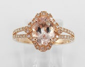 RESERVED Morganite and Diamond Halo Engagement Ring Rose Pink Gold Size 7.25