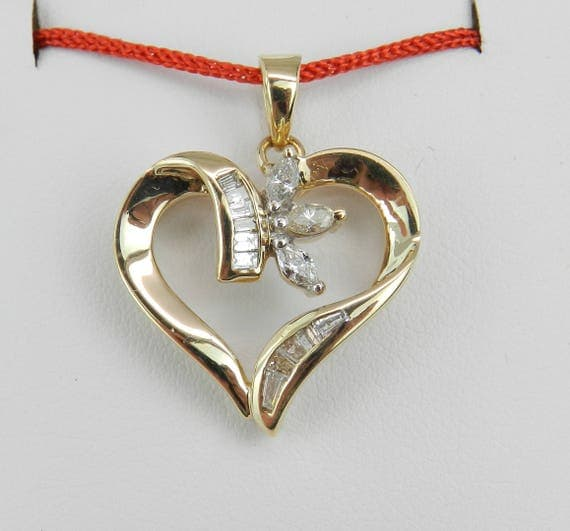 Estate Yellow Gold Diamond Heart Pendant Necklace Charm Marquise Baguette