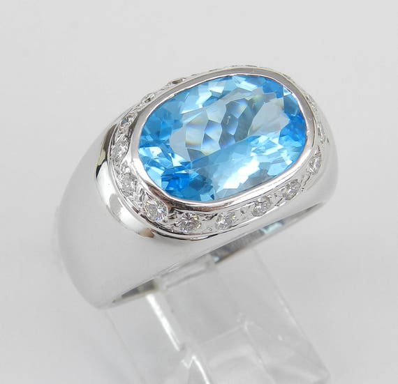 18K White Gold 5.25 ct Diamond Oval Blue Topaz Cocktail Engagement Ring Size 7.5