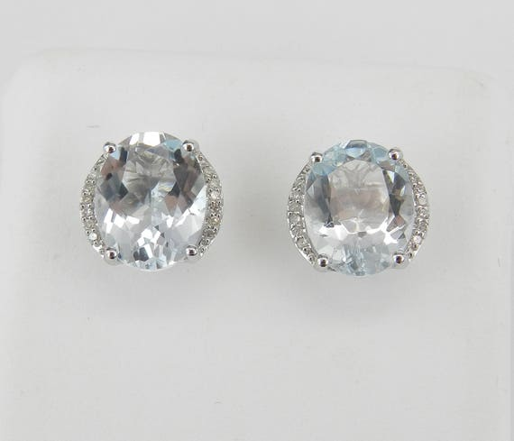 2.70 ct Aquamarine and Diamond Stud Earrings 14K White Gold Studs March Gem Earring