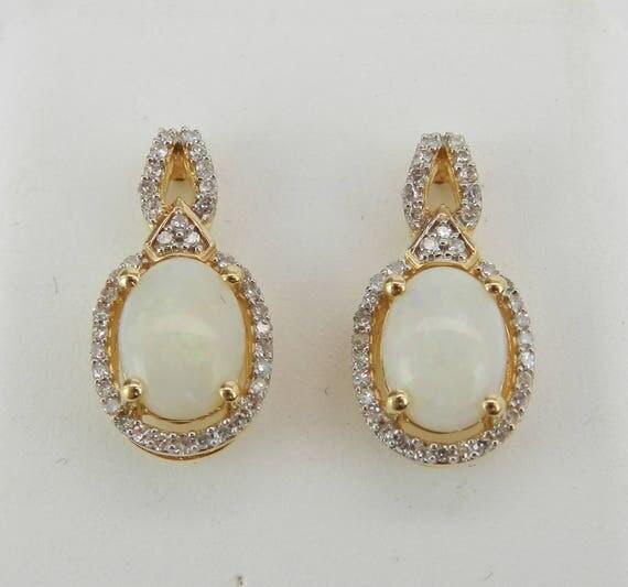 14K Yellow Gold Opal and Diamond Drop Earrings Wedding Gift October Birthstone