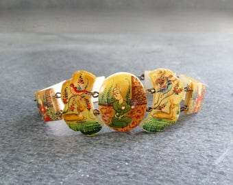 Antique Persian Mother of Pearl Bracelet,  Hand Painted Story Bracelet, Ca 1910, Unique Vintage Jewelry