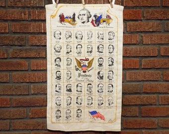 Vintage United States Presidents 1789-1969 Linen Tea Towel
