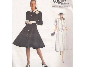 Vintage 1980s Flared Front Button Dress Vogue Sewing Pattern 2016 Oscar De La Renta Size 12-14-16 Bust 34-36-38