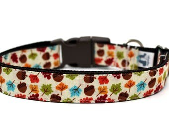 "Fall Dog Collar 3/4"" or 1"" Autumn Dog Collar Boy Dog Collar Girl Dog Collar"