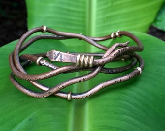 Coiled Viking Snake Bangle Bracelet - Mixed Metals Rustic Copper & Raw Bronze Serpent Jewelry - 7th Anniversary Gift