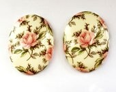 Vintage German Cameos, Floral Chintz Rose, Glass Cameos, Porcelain Cameos, Vintage Jewelry Supplies, 40 x 30mm, B'sue Boutiques, Item03138