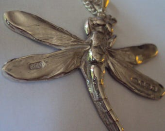 Solid Sterling Silver Necklace featuring a gorgeous Dragonfly