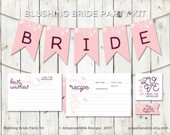 Blushing Bride - Pink Burgundy - Bridal Shower Printable Kit - Banner, Favor Drink Dessert Tags, Best Wishes, Recipe Card