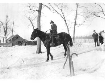 "Vintage Snapshot ""Off To School"" Young Boy On Horseback Freezing Frigid Snowy Day Rural America Found Vernacular Photo"