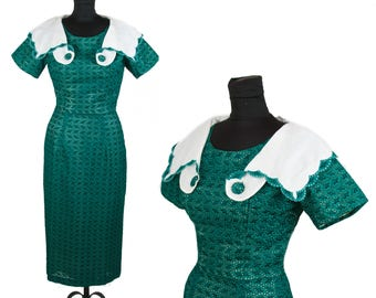 1950s Dress // Green Eyelet Lace Cotton Wiggle Dress with Wide Portrait Collar