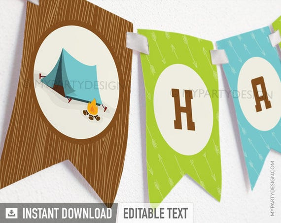 Printable Birthday Banner ~ Camping party happy birthday banner boy campout sleepover