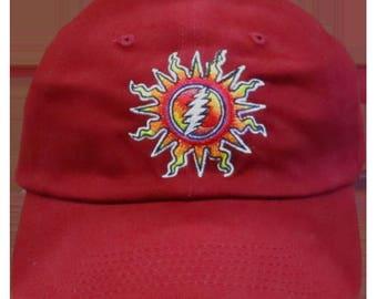 GD Sunshine Lightning Embroiderd Ball Cap-Red
