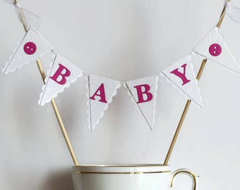 White & Pink Baby Shower Cake Topper - New Baby Girl Cake Bunting