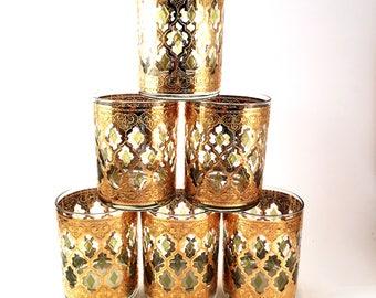 6 (Six) Mid-Century Culver Valencia Lowball Rocks Drink Barware Glasses, 24k Gold