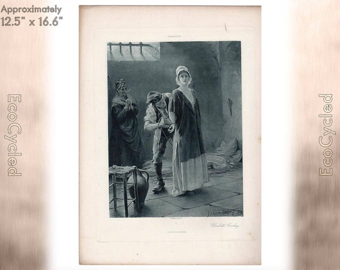 Charlotte Corday by Julian Story 1889 Antique Photogravure Print Goupil Vintage Paper Ephemera ready to frame antique art zG6