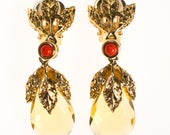 Vintage Francesca Visconti Citrine Crystal Drop Earrings