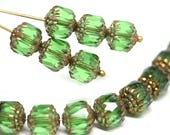 8mm Green cathedral beads Czech glass golden ends round fire polished ball beads 15Pc - 2941