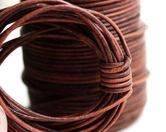 1.5mm Round Leather cord -  Vintage Brown Coqnac - 10 feet, LC077