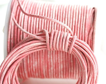 1.5mm Round Leather cord - Vintage Pink, Distressed, New Color - 10 feet, LC059