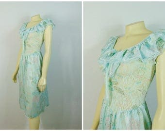 Vintage Nightgown Aqua Blue Floral Satin & Lace Can Fit Size Small Medium or Large