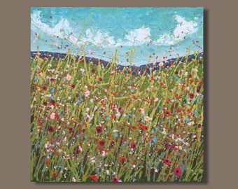 abstract meadow, abstract field flowers painting, drip painting, farm field, country side landscape painting, pink orange yellow wall art
