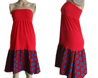 Red Dress, upcycled summer dress,  Lagenlook, spider, Hot Red Dress,  strapless dress, Beach Dress, Maternity dress Festival Dress, Dress M