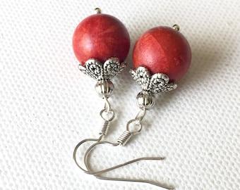 Red coral earrings, Red sponge coral earrings, Red coral dangle earrings, Red coral beaded earrings, Red round bead coral earrings, Natural