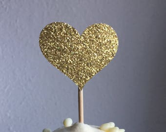 120 Cupcake Toppers Large & Small Sparkling GOLD HEARTS Wedding Cake Decorations