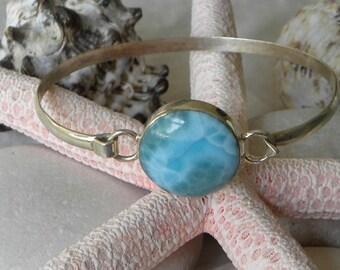 "Larimar Bracelet Handmade Dominican Blue Larimar Bangle 7 1/2 to 8 1/2"" Sterling Silver Bracelet Take 20% Off Blue Larimar Jewelry Gemstone"