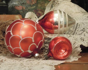 Three Vintage Red Mercury Glass Ornaments / Silver White and Red Ornaments / One Shiny Brite