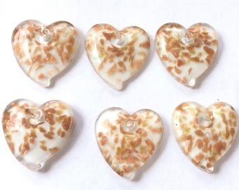 6 Fine Frosty White Heart Lampwork Charm with Gold