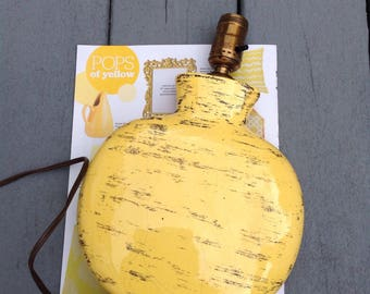 Mid Century Yellow Ceramic Lamp /